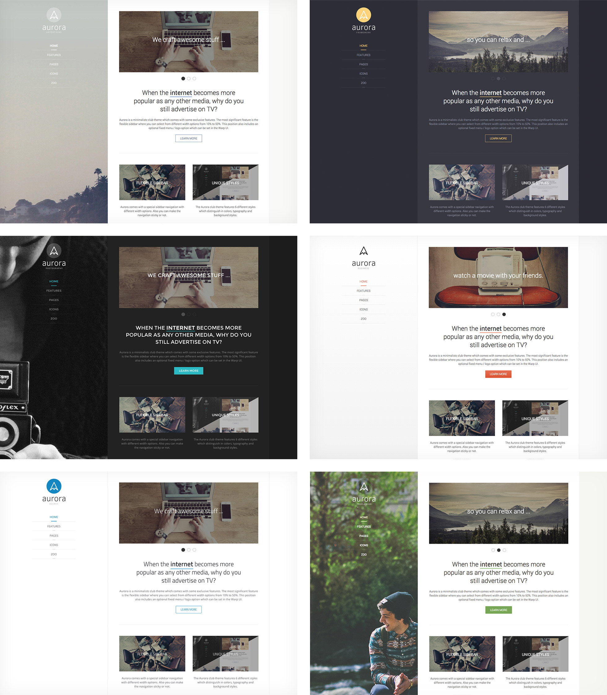 4 new themes in 24 different flavours pagekit